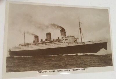 Cunard White Star RMS Queen Mary Postcard RPPC Real Glossy Photo