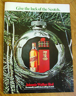 1969 Johnnie Walker Red Whiskey Ad  Give the Luck of the Scotch