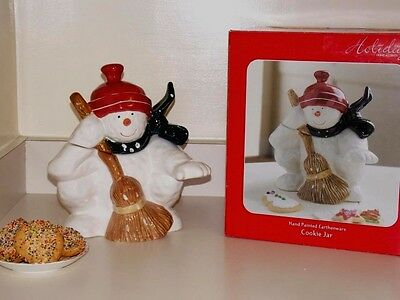 """Home Accents Holiday Snow man Cookie Jar 11""""kitchen holidays decor"""