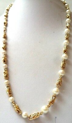 """Stunning Vintage Estate Faux Pearl Gold Tone Swirl Chain 24"""" Necklace!! 9946Z"""