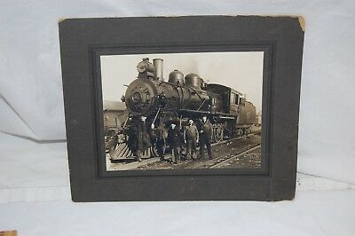 Antique Photo 1900's? Train Steam Engine # 87 Boston & Maine? with 4 Workers