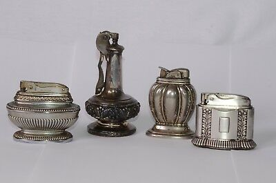 Lot of (4) Vintage Table Lighters RONSON Decanter, Diana, OMSCO LITE & EVANS
