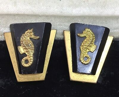 Vintage Art Deco Jewellery Super Painleve Seahorse Clip Back Earrings