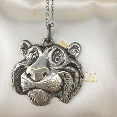 Vintage Jewellery Lovely Esso Tiger Head Pendant And Chain Super Detail