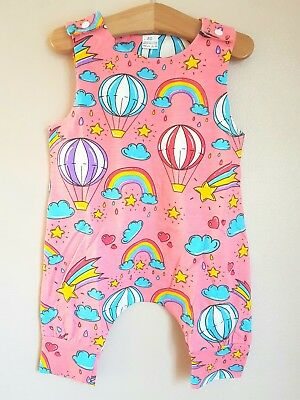 🌈BNWOT Pink Balloon Rainbow Star Playsuit Dungarees 12-18 Months Post Next Day
