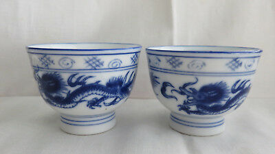2 Vintage Chinese Blue And White Dragon Blue Moon Porcelain Cups