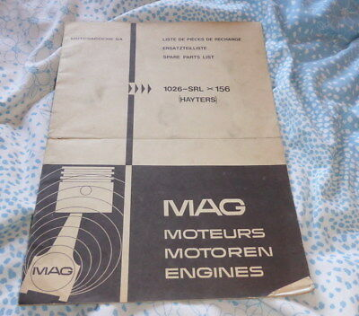 Original Spare parts list for Hayter mowers with MAG engines dated 1973