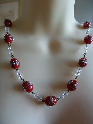 venetian glass style red wedding cake beads with Czech facette crystal necklace