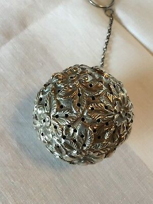 Antique Sterling Silver Tea Ball With Chain And Ring, 35.89 Grams