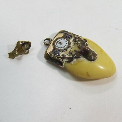 Antique Vintage Elks Lodge Bpoe Tooth Fob/charm With Screwback Lapel Pin