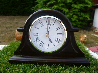 Acctim * Dark Wood Mantle Clock * Chrome Bezel & Brass Feet  Good Working Order