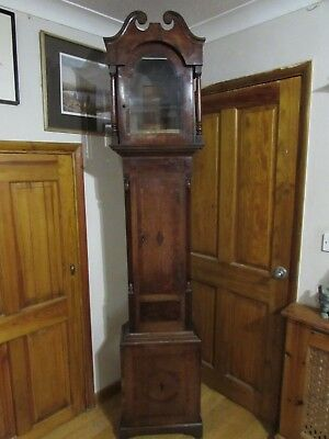19th Century Oak Grandfather Longcase Clock Case 224cm
