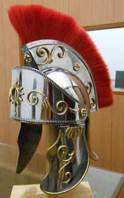 ROMAN KING ARTHUR HELMET Horse Red Hair Plume Replica Roman Officer 3h