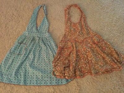 Darling vintage lot of two handmade print aprons