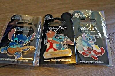 Disney Trading Pin Lot of 3 Lilo and Stitch Ohana Means Family Guitar