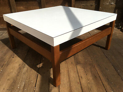 Vintage White Formica & Teak Square Coffee Table Mid 20th Century Danish 60s 70s