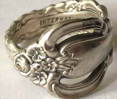 Vintage International Deep Silver plated Spoon Ring size 5 ~ Dogwood
