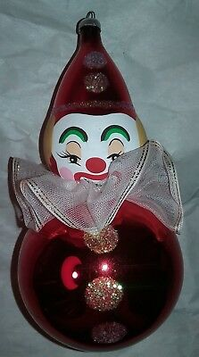 Vintage Italy De Carlini ? Glass Clown Christmas Ornament