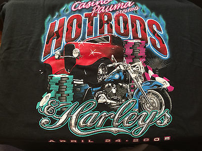 Casino Pauma Hot Rod Harleys 4/24 2005 Tee T-Shirt XL players club souvenir item