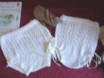 TWO Vintage Lacey Knitted Baby/Doll Pilch GC.