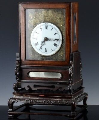 Veryrare 19Thc Antique Chinese Bronze Huanghuali Verge Fusee Mantle Table Clock