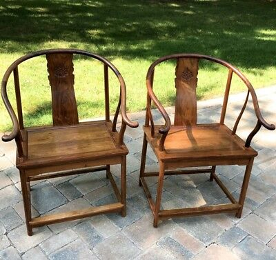 Very Fine Pair Chinese Huanghuali Horseshoe Back Armchairs Chairs Superbly Carvd