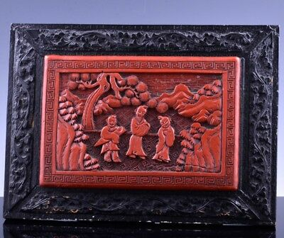 Antique Chinese Carved Cinnabar & Tea Green Lacquer Landscape Wall Panel Plaque