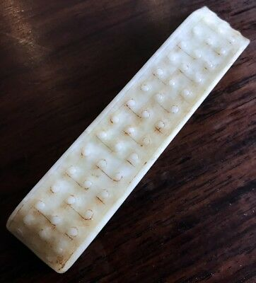 Rare Chinese Pure White Mutton Fat Jade Sword Scabbard Slide Warring States