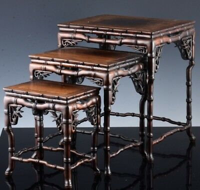 Very Fine Chinese Rosewood Bamboo Design 3 Piece Nesting Side Tables Stands