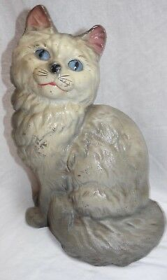 Antique Hubley Cast Iron Gray Persian Cat Doorstop 2 Pieces Blue Eyes, Unsigned