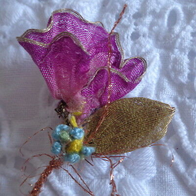 """2 1/2"""" Handmade Flower Made With Antique French Silk & Metallic Ribbon On Stem"""