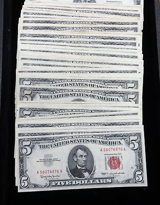 1 Bundle or 100 Pieces of  Average Circulated 1963 $5 Bills