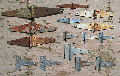 15 Vintage Barn Strap Hinge Lot Old Farm Gate Door Decor Steel Primitive Rusty