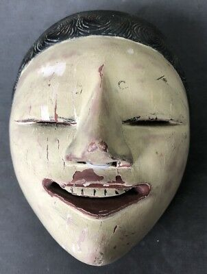 Vintage Woodcraft Japanese Female Theater Noh mask ~MUST SEE~~