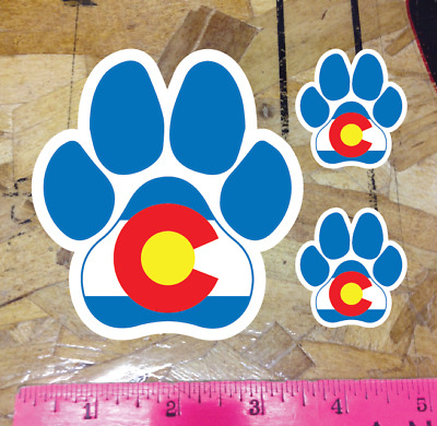 """CO Colorado State Flag Dog Paw Print Sticker Decal - 4"""" - 3 for 1"""