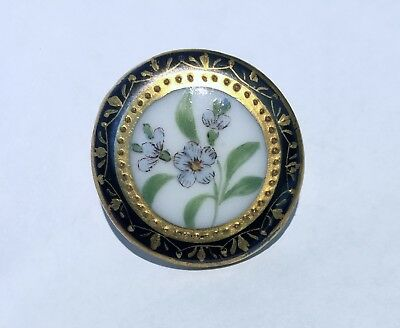 StUnnInG ANTIQUE PORCELAIN /CHINA HAND PAINTED BUTTON~FMN'S~LUSH GILT~