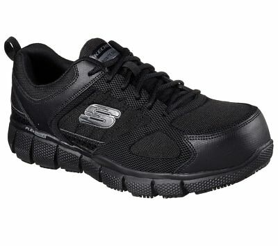 77132 Wide Fit Black Skechers shoes Work Men Memory Foam Slip Resistant Comp Toe