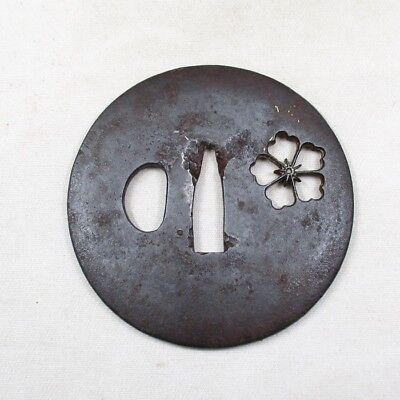 F088: Real old Japanese sword guard TSUBA of iron with openwork of flower