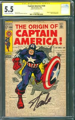 Captain America 109 CGC 5.5 SS Stan Lee sign Jack Kirby cover art 1/1969