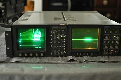 Tektronix 1750A and 1730D waveform monitors in side by side rackmount chassis