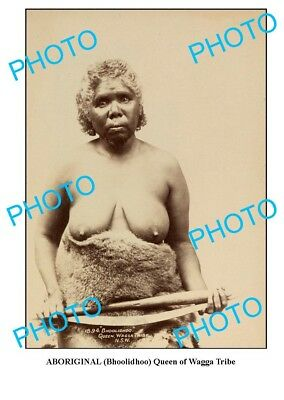 OLD ABORIGINAL LARGE PHOTO, QUEEN OF WAGGA TRIBE c1900