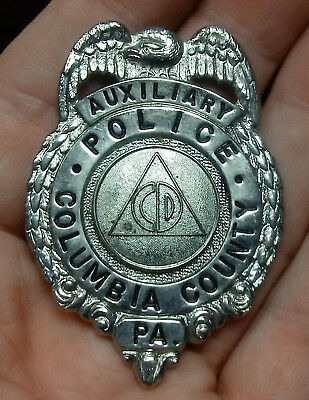 OBSOLETE Old COLUMBIA County Pennsylvania CIVIL DEFENSE Auxiliary POLICE BADGE