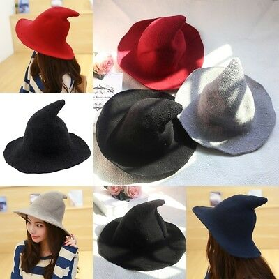 Modern Wide Brim Knit Witch Hat Made From High Quality Sheep Wool Halloween Caps
