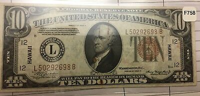 1934A $10 Dollar Bill Wwii Hawaii Federal Reserve Brown Seal Note Money Unc
