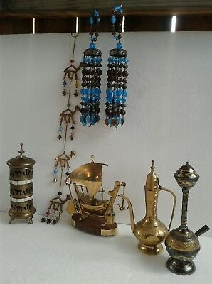 Lot of Vintage Brass Items 7 pices ship boat, long candle holder, oil pot hanger
