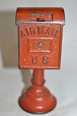 "Circa 1920 ""Air Mail"" Mailbox on Pedestal Cast Iron Still Bank Made by Dent"
