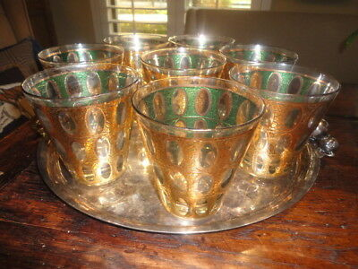 8 Culver Pisa Mid Century Modern Green Oval Gold Cocktail Rock Lowball Glasses