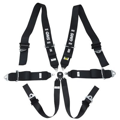 "NEW! FIA QMS 6 Point Harness 3""/2"" Club Racing BLACK Belts LIGHT 2018"