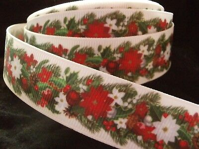 CHRISTMAS RIBBON - FLOWERS - GROSGRAIN RIBBON 22mm/7/8""