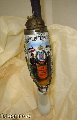 Antique Wwi German Pickelhaube Helmet Soldiers Welcoming Porcelain Long Pipe